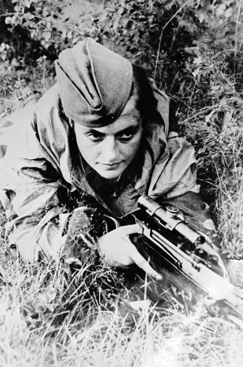 The Red Army Soviet sniper Lyudmila Pavlyuchenko defends Sevastopol from the Nazis, on June 06, 1942. (Ozerksy/AFP/Getty Images)