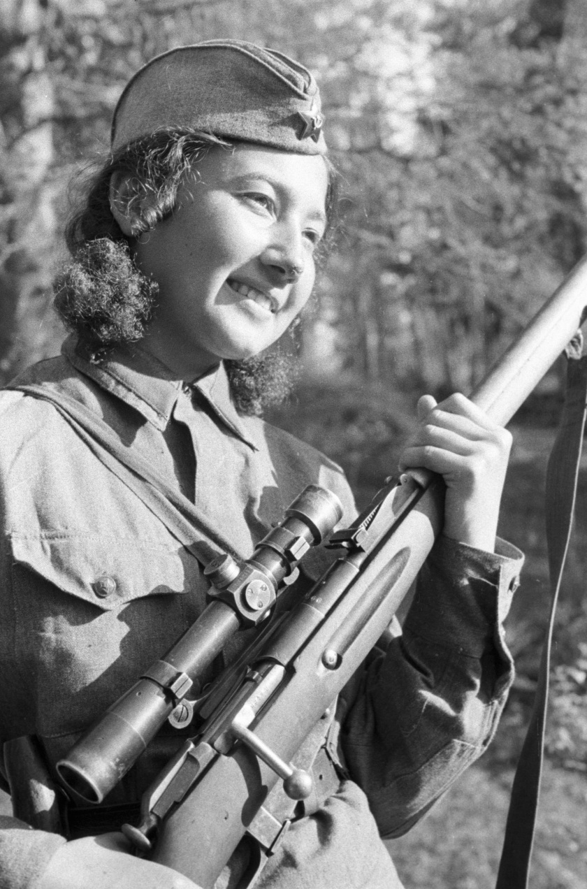 The Red Army Soviet sniper Anastasya Stepanova defends Stalingrad from the Nazis, in 1942. (Ozerksy/AFP/Getty Images)