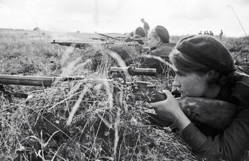 The Red Army Soviet sniper Lyuba Makarova at the meeting of the 3rd Shock Army's at the Kalinin front in 1943. (Ozerksy/AFP/Getty Images)