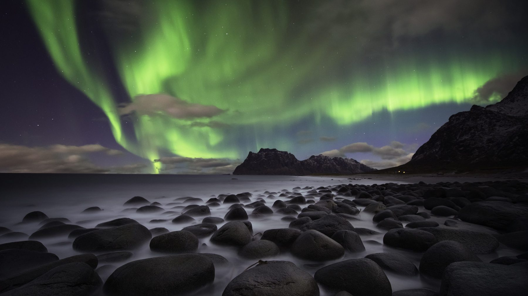 Norway at night with the beautiful Aurora borealis. (Getty Images)