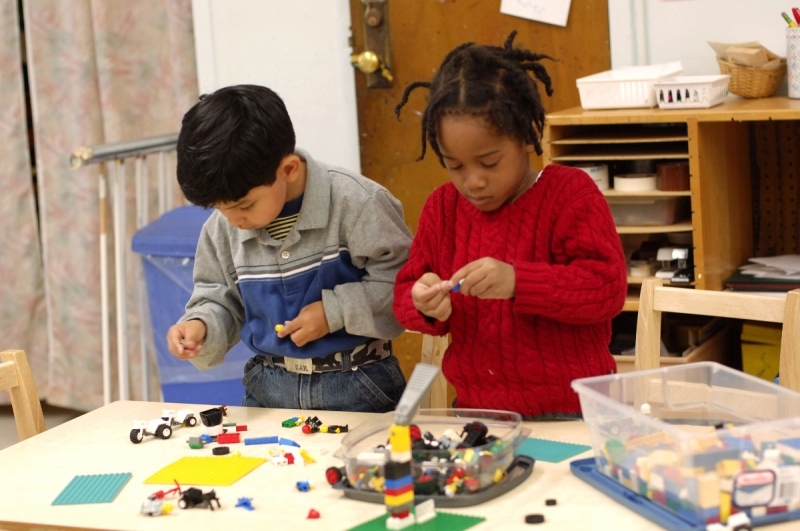 Four year olds playing with legos together at Marble Hill Nursery School (Michelle Del Guercio)