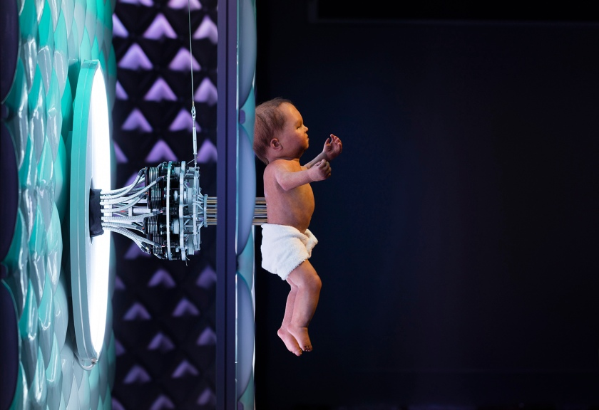 Animatronic baby on display in the Robots exhibition (Plastiques Photography, courtesy of the Science Museum)