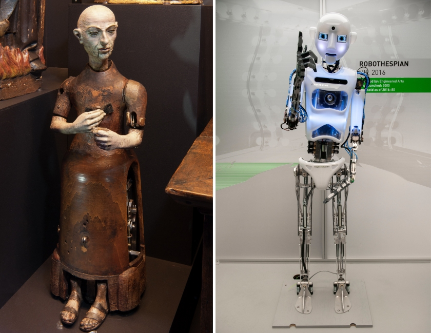 Left: Automaton monk, attributed to Gianello Torriano, Spain, circa 1560 (Smithsonian Institution) Right: RoboThespian (The Board of Trustees of the Science Museum)