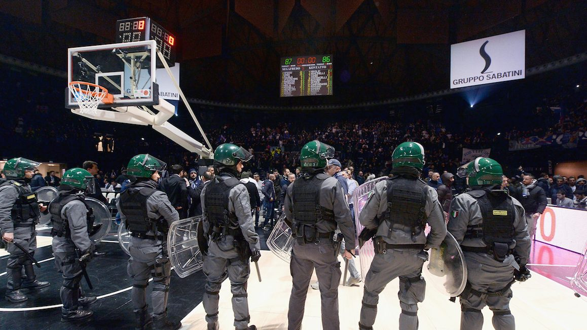 BOLOGNA, ITALY - JANUARY 06:  The italian Police stands on the court to prevent contacts and riots between differnt supporters during the LNP lega basket of Serie A2 match the Derby of Bologna between Virtus Segafredo Bologna and Fortitudo Kontatto Bologna at Unipol Arena on January 6, 2017 in Bologna, Italy.  (Photo by Roberto Serra - Iguana Press/Getty Images)