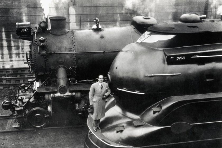 (Original Caption) 3/3/36: Doctor Raymond Loewy with his latest designed locomotive.
