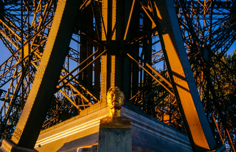 Bust of Gustave Eiffel on the Eiffel Tower.