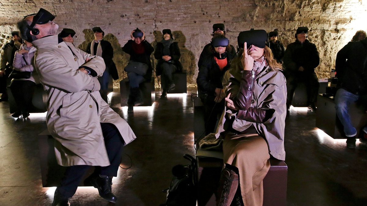 People wear virtual reality devices during a visit at the Domus Aurea, built by Roman Emperor Nero in 64 A.D. and later buried by Emperor Trajan in Rome, Italy on January 31, 2017. (Reuters/Max Rossi)