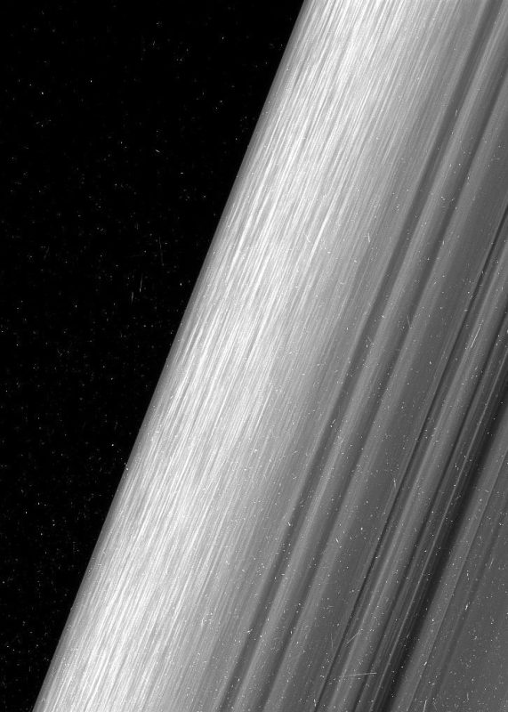 This image shows a region in Saturn's outer B ring. NASA's Cassini spacecraft viewed this area at a level of detail twice as high as it had ever been observed before NASA/JPL-Caltech/Space Science Institute)