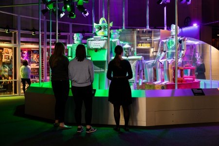 Visitors in the Dream section of the Robots exhibition  (Plastiques Photography, courtesy of the Science Museum)