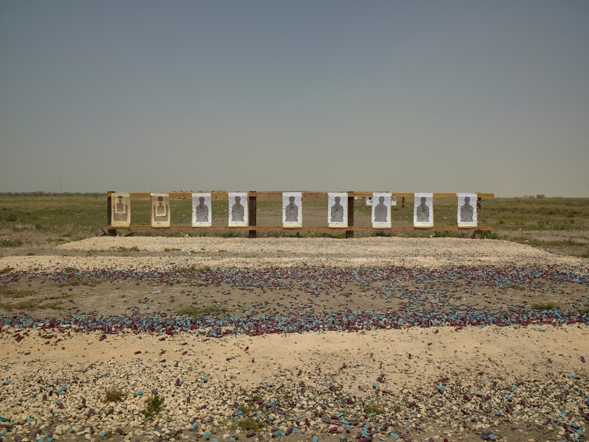 Border Patrol target range along Boca Chica Highway, near Gulf of Mexico, Texas in 2013. (Richard Misrach, Courtesy Fraenkel Gallery, Pace/MacGill Gallery, and Marc Selwyn Fine Art)