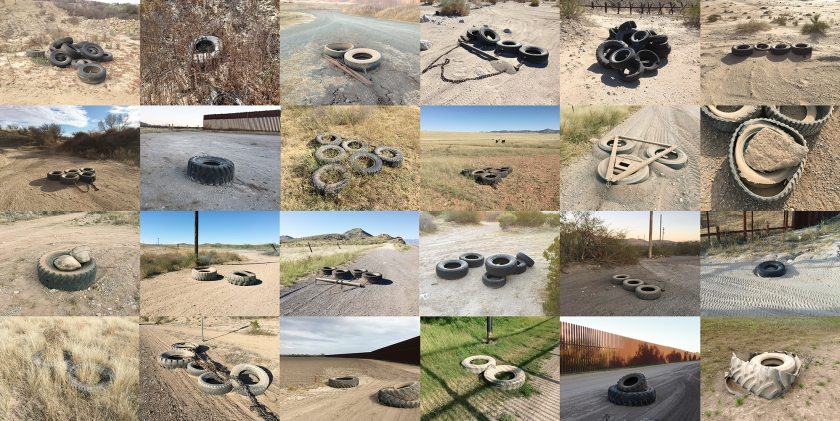 Tire drags used along the border from the Pacific Ocean to the Gulf of Mexico, photographed between 2013-15. (Richard Misrach, Courtesy Fraenkel Gallery, Pace/MacGill Gallery, and Marc Selwyn Fine Art)