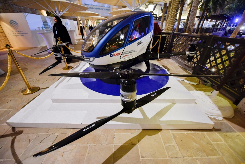 A model of the EHang 184 autonomous aerial vehicle is displayed at the World Government Summit 2017 in Dubai's Madinat Jumeirah on February 13, 2017. (Stringer/AFP/Getty Images)