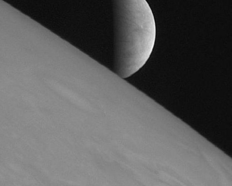 The icy moon Europa rising above Jupiter's cloud tops (NASA/Johns Hopkins University Applied Physics Laboratory/Southwest Research Institute)