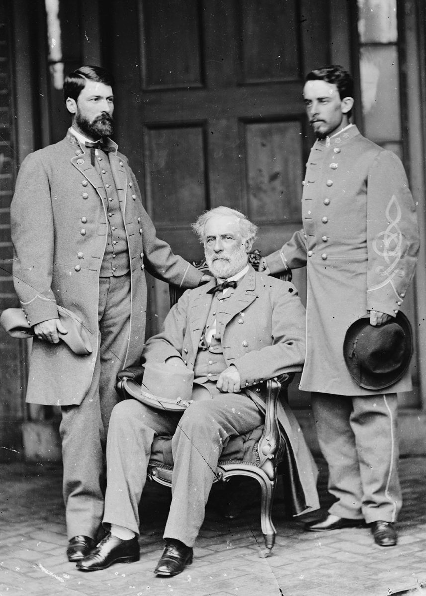 (The Art Archive/REX/Shutterstock) Major-General George Washington Custis LEE, with his father, Robert E. LEE (seated), 1807-70 and Lt. Col. Walter Herron TAYLOR, Lee's chief of staff, shortly after the surrender at Appomattox, photographed at Lee's Franklin St. home, Richmond, Va., April 1965. Robert E. Lee, Confederate general and commander of the Army of Northern Virginia during the American Civil War. (Mathew Brady) Art - various Artist: BRADY, Mathew (1822-1896, American)