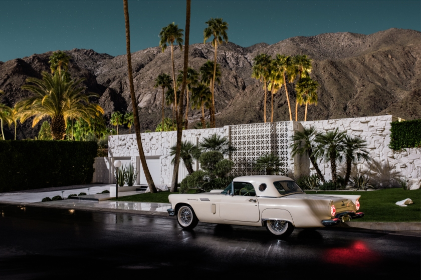 Designed by Hal Levitt in 1961; with a 1957 Ford Thunderbird in the driveway (Midnight Modern by Tom Blachford, published by powerHouse Books)
