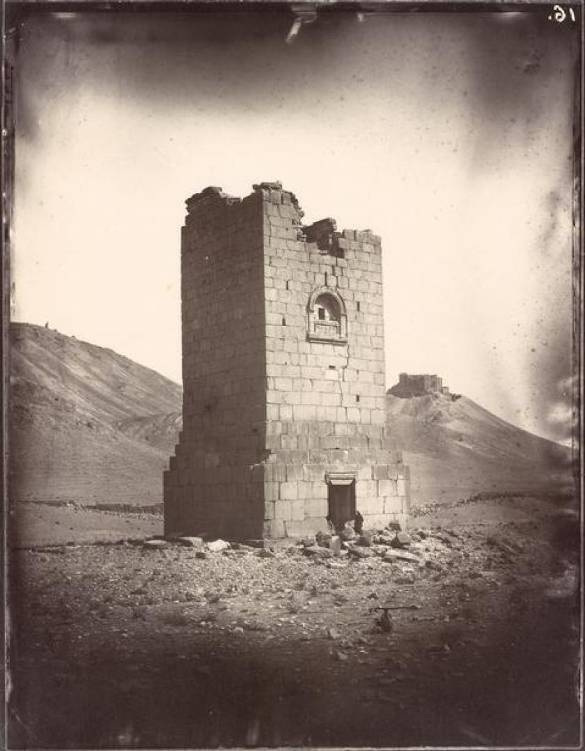 Tower tomb of Elahbel, Albumen print by Louis Vignes in 1864. . (The Getty Research Institute)