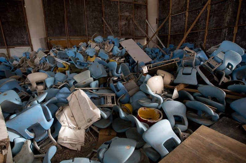 This Feb. 2, 2017 photo shows seats jumbled in a pile inside Maracana stadium in Rio de Janeiro, Brazil. (Silvia Izquierdo/AP Photo)