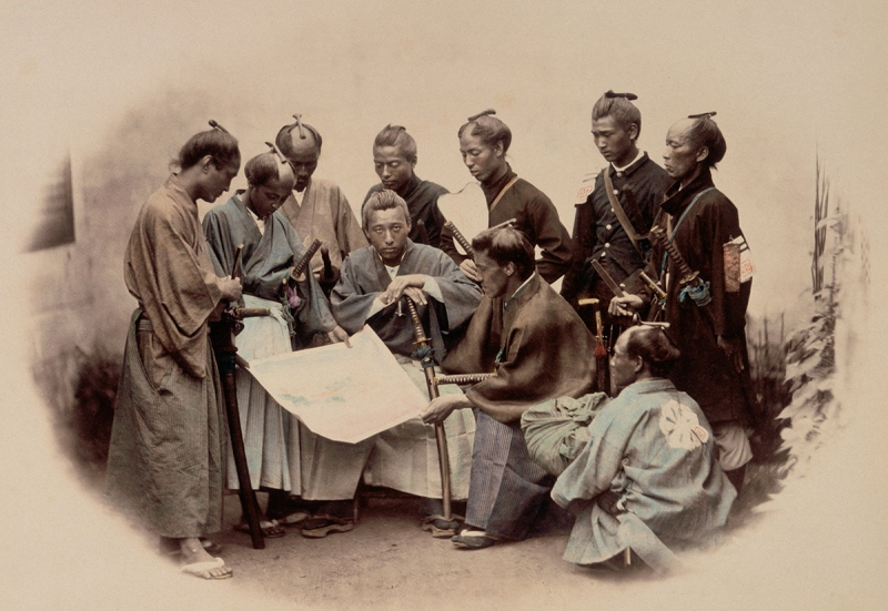 Portrait of a group of Samurai and Japanese officers looking at a map. (Alinari Archives/CORBIS/Corbis via Getty Images)