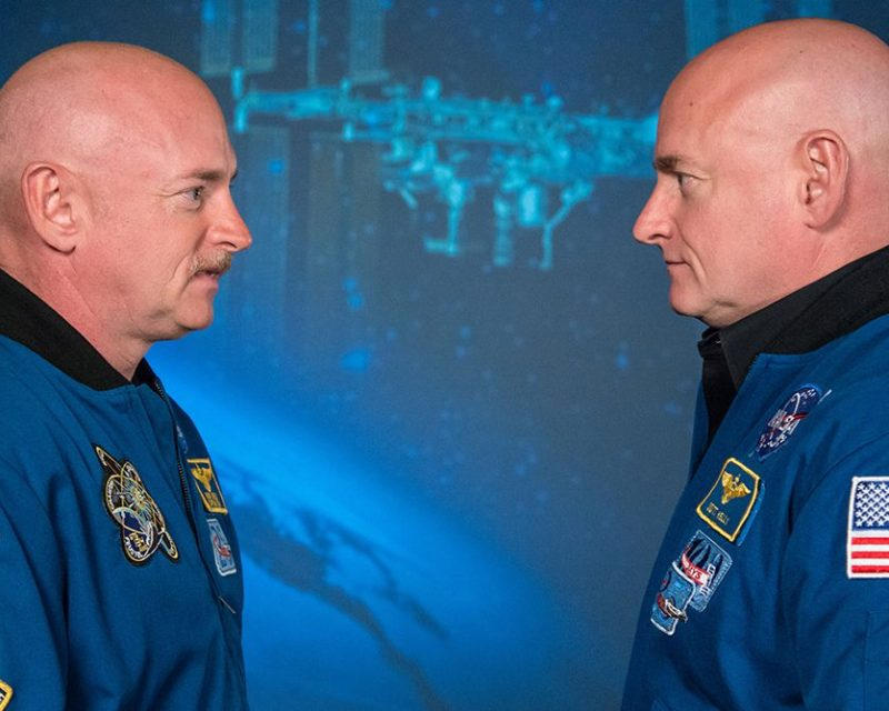Expedition 45/46 Commander, Astronaut Scott Kelly along with his brother, former Astronaut Mark Kelly speak to news media outlets about Scott Kelly's 1-year mission aboard the International Space Station. Photo Date: January 19, 2015. Location: Building 2. (Robert Markowitz/NASA)