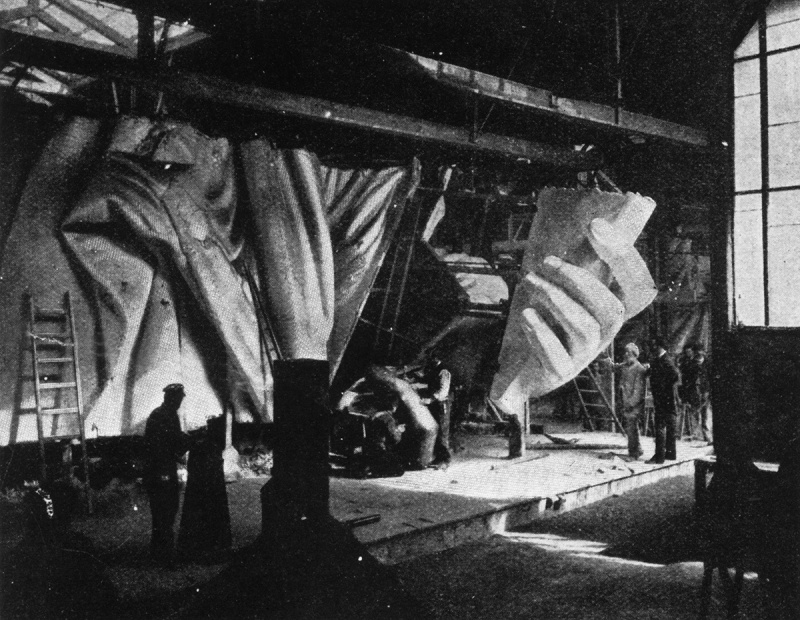 circa 1884: The left hand of the Statue of Liberty under construction. Sixty men have worked for almost ten years on the various parts of the statue, not including its designer Frederic Bartholdi and his assistants. Original Publication: From The Strand Magazine. (Photo by Hulton Archive/Getty Images)