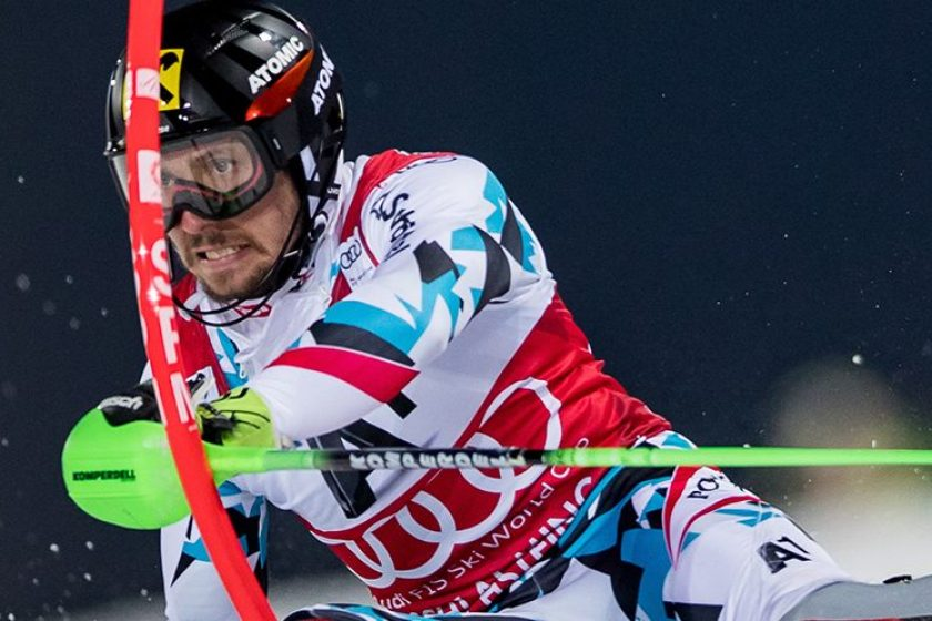 Marcel Hirscher performs at the FIS Alpine Skiing World Cup in Schladming, Austria on January 24, 2017. (Erich Spiess/ASP/Red Bull Content Pool)