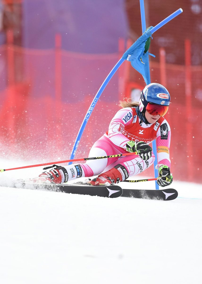 Mikaela Shiffrin performs at the FIS Alpine Skiing World Cup in Semmering, Austria on December 27, 2016. (Erich Spiess/ASP/Red Bull Content Pool)