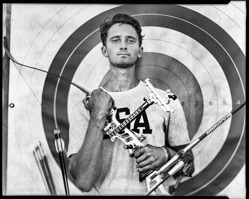 People - Third Prize, Stories: Zach Garrett will be part of the U.S.A. Archery team, at the 2016 Rio Olympics and is photographed at the Olympic Training Center in Chula Vista, CA on June 22, 2016. This is Garrett's first Olympics. A series of portraits of Olympic athletes from California headed to the 2016 Olympics in Rio de Janeiro, Brazil. The USA took more than 550 athletes to compete in 20 sports of the Summer Games. (Jay L. Clendenin/Los Angeles Times)