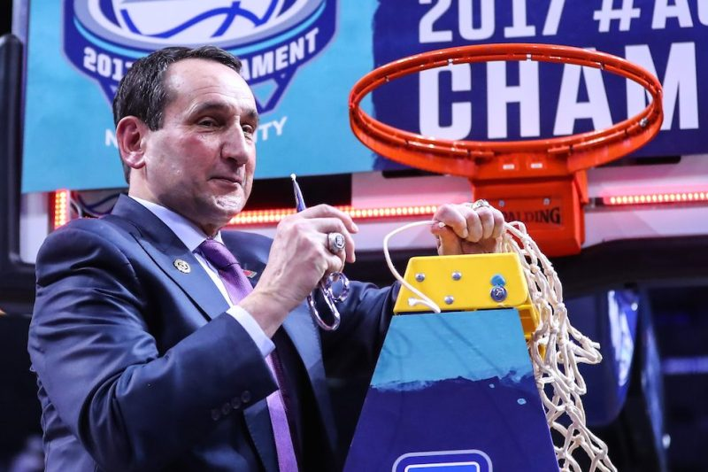 BROOKLYN, NY - MARCH 11: Duke Blue Devils head coach Mike Krzyzewski cuts the net after winning the 2017 New York Life ACC Tournament Final round game between the Notre Dame Fighting Irish and the Duke Blue Devils on March 11, 2017, at the Barclays Center in Brooklyn,NY. (Photo by Rich Graessle/Icon Sportswire via Getty Images)