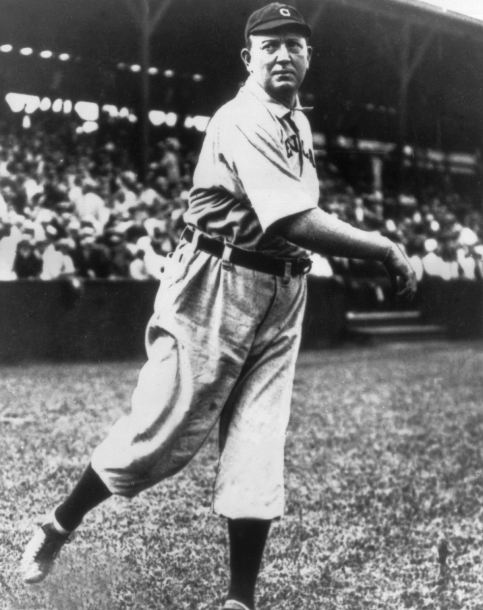 circa 1910:  Full-length portrait of American baseball player Cy Young (1867 - 1955), pitcher for the Cleveland Naps, lightly tossing a ball during warm-ups while wearing his uniform.  (Photo by Photo File/Getty Images)