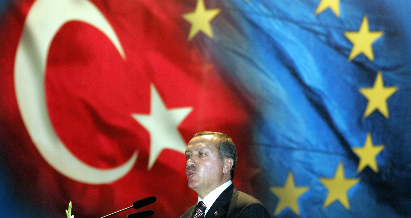 ISTANBUL, Turkey:  Turkish Prime Minister Recep Tayyip Erdogan delivers a speech in Istanbul on 12 October 2005 during the visit of German Chancellor Gerhard Schroeder. Their talks were expected to focus on bilateral issues but also on the start of Turkey's membership negotiations with the European Union.    AFP PHOTO    DDP/MARCUS BRANDT  (Photo credit should read MARCUS BRANDT/AFP/Getty Images)