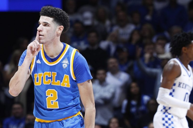 LEXINGTON, KY - DECEMBER 03: Lonzo Ball #2 of the UCLA Bruins reacts after making a three-point basket against the Kentucky Wildcats in the second half of the game at Rupp Arena on December 3, 2016 in Lexington, Kentucky. UCLA defeated Kentucky 97-92. (Photo by Joe Robbins/Getty Images)