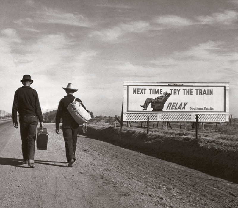 Farmers from the Dust Bowl regions laid waste by drought follow Route 66 on their way to California -photo titled Toward Los Angeles by Dorothea Lange, 1937 (Dorothea Lange/Bettmann Archive/Getty Images)