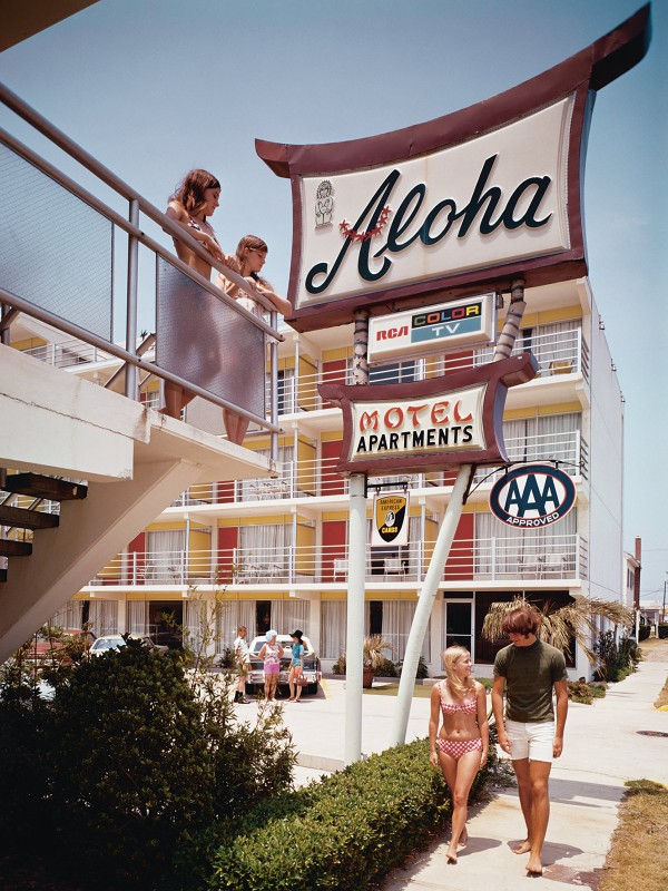 The Aloha Motel on the Atlantic coast, North Wildwood, New Jersey, 1960s (Photo by Eric Bard/Corbis via Getty Images)