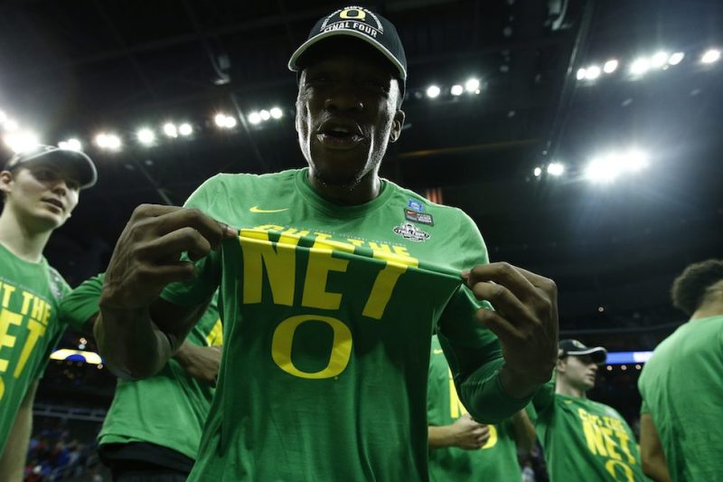 KANSAS CITY, MO - MARCH 25: Dylan Ennis (31) of the Oregon Ducks celebrates during the 2017 NCAA Men's Basketball Tournament held at Sprint Center on March 25, 2017 in Kansas City, Missouri. (Photo by Timothy Nwachukwu/NCAA Photos via Getty Images)