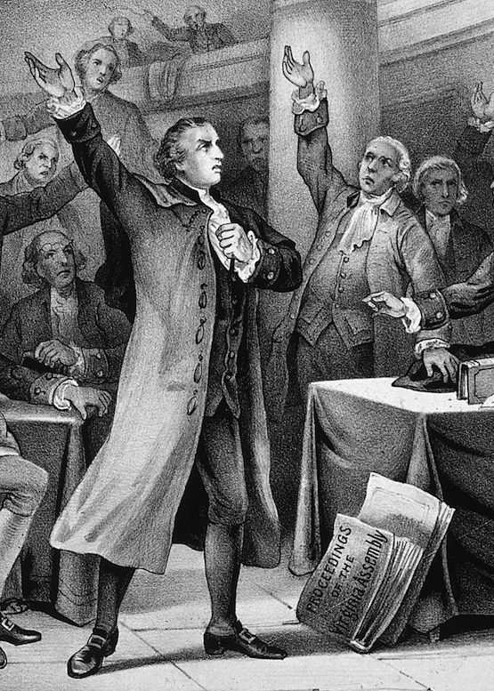 1775:  American statesman Patrick Henry (1736 - 1799) delivers his patriotic 'give me liberty, or give me death' speech before the Virginia Assembly. Original Artwork: Printed by Currier & Ives.  (Photo by MPI/Getty Images)