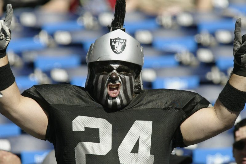 SAN DIEGO - JANUARY 26: A fan of Charles Woodson #24 and the Oakland Raiders cheers before the Super Bowl XXXVII against the Tampa Bay Buccaneers at Qualcomm Stadium on January 26, 2003 in San Diego, California. The Buccaneers won 48-21. (Photo by Donald Miralle/Getty Images)