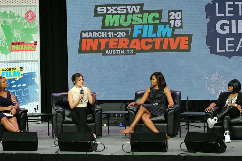 First Lady Michelle Obama, Sophia Bush, Queen Latifah and Missy Elliott speak on stage during the SXSW Keynote: Michelle Obama during 2016 SXSW Music, Film + Interactive Festival at Austin Convention Center on March 16, 2016 in Austin, Texas. (Neilson Barnard/Getty Images for SXSW)
