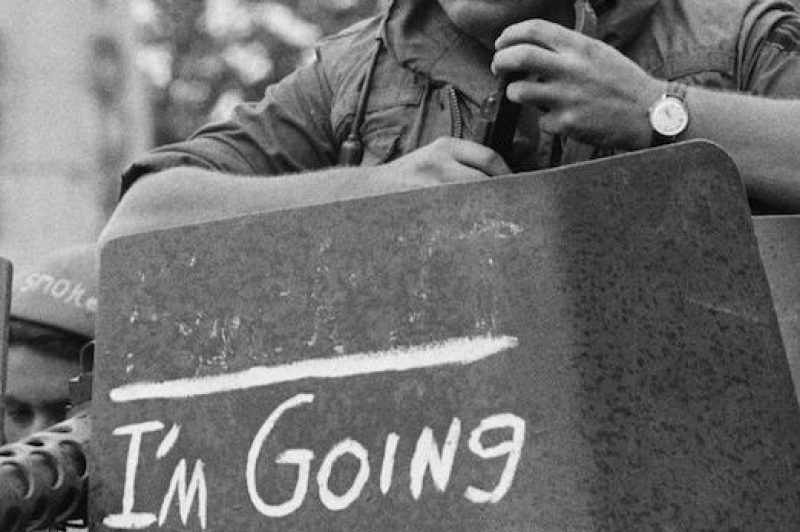 (Original Caption) 9/30/71-Tay Ninh, S. Vietnam: Phrase on gun mount protective shield probably accurately expresses thoughts of GI tank crew member as elements of US armored units move back into combat base, Sept. 30th, recently turned over to Vietnamese forces. In Washington, Sept. 30th, unknowingly-- apparently sympathetic to this GI's wishes, the US Senate, in a second rebuff of Pres. Nixon's Vietnam policies, voted for a total US withdrawal from Indochina by Spring, 1972.