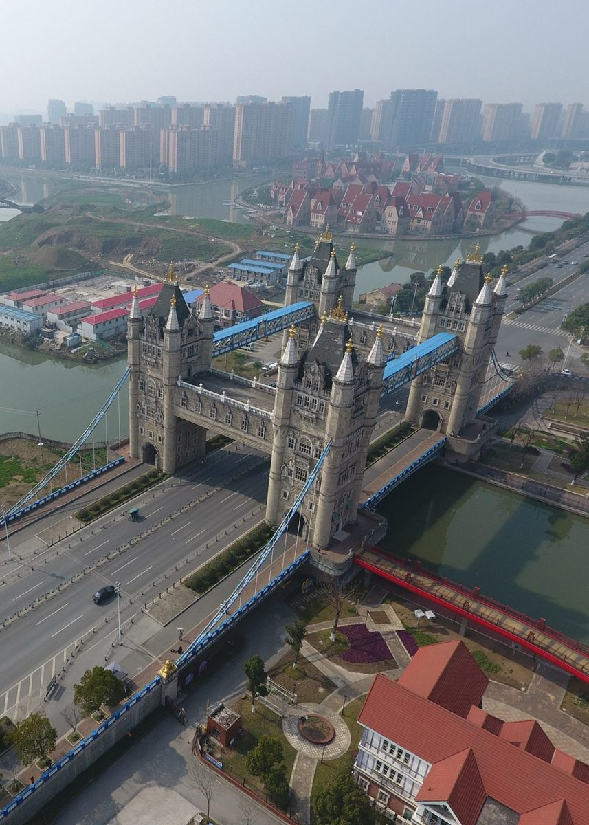 Different from the London original, the Suzhou copycat has four interconnected towers to carry more lanes of motorway. The local government copied 56 famous bridges onto its river in a bid to attract tourists in 2012. (Feature China/Barcroft Images /Barcroft Media via Getty Images)