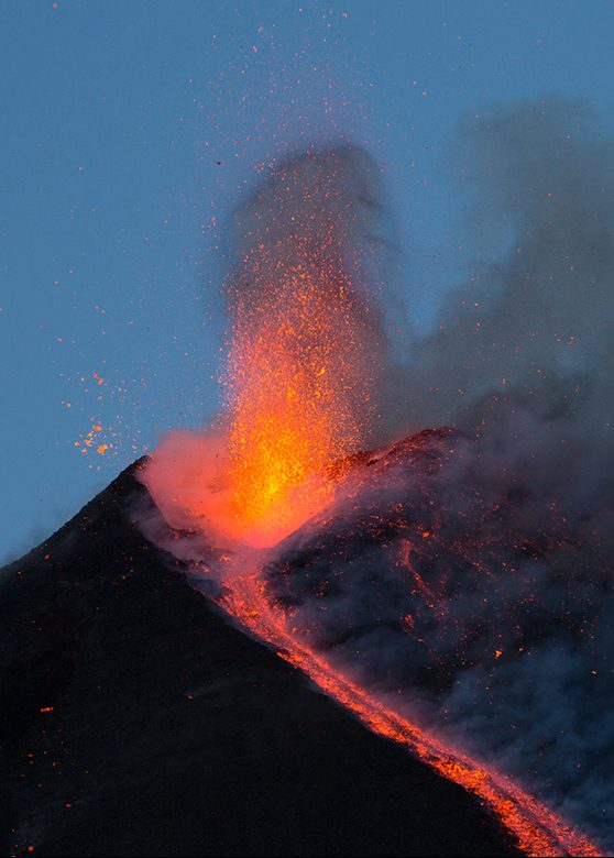 SICILY, ITALY - FEBRUARY 28: Mount Etna, spewing strombolian explosions on February 28, 2017 in Sicily, Italy.  Mount Etna in Sicily, Italy is erupting after being mostly dormant for the last two years. Considered one of the most active volcanos in the world, it blew its top and spewed bright orange lava into the sky on Monday night. There is no direct danger to the towns or airport on the island but authorities will continue to monitor the growing ash cloud.  PHOTOGRAPH BY Marco Restivo / Barcroft Images  London-T:+44 207 033 1031 E:hello@barcroftmedia.com - New York-T:+1 212 796 2458 E:hello@barcroftusa.com - New Delhi-T:+91 11 4053 2429 E:hello@barcroftindia.com www.barcroftimages.com (Photo credit should read Marco Restivo / Barcroft Images / Barcroft Media via Getty Images)