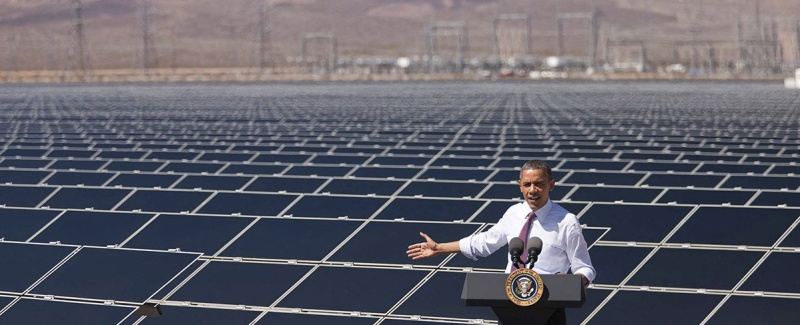 U.S. President Barack Obama speaks at Sempra Gas and Power Copper Mountain Solar 1 facility, the largest photovoltaic solar plant in the United States on March 21, 2012 in Boulder City, Nevada. (Lawrence Jackson/Planet Pix via ZUMA Wire)