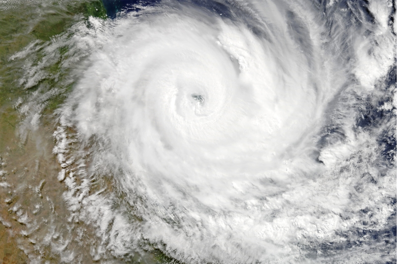 Severe Tropical Cyclone Debbie about to make landfall over Queensland at peak intensity early on 28 March 2017. (NASA)