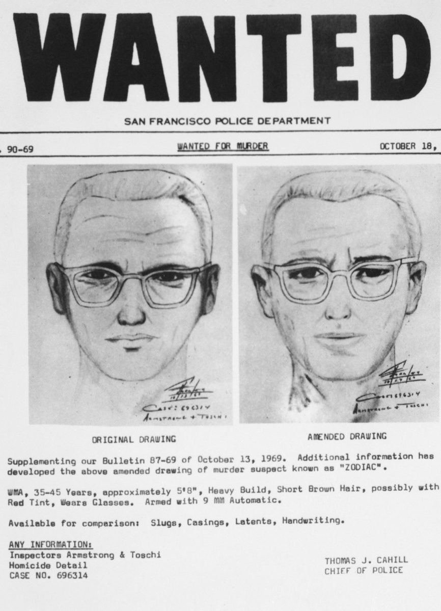 San Francisco: San Francisco police circulated this composite of the Bay Area's 'Zodiac' killer. At left is a drawing from witnesses to slaying of a cab driver in San Francisco. The amended drawing on the right was based on further questioning of the witnesses (Bettmann/Contributor)