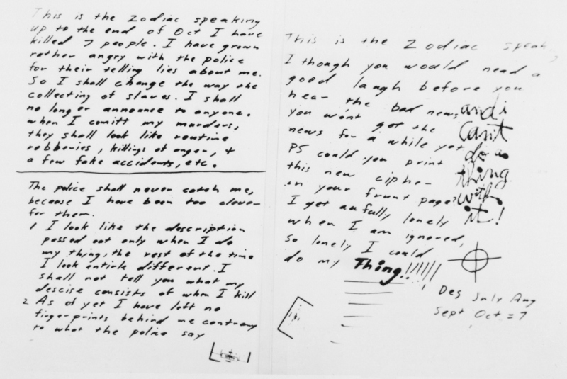 San Francisco, California: The 'Zodiac' killer broke his silence to boast in letters and cryptograms that he has now murdered seven persons (Bettmann/Contributor)