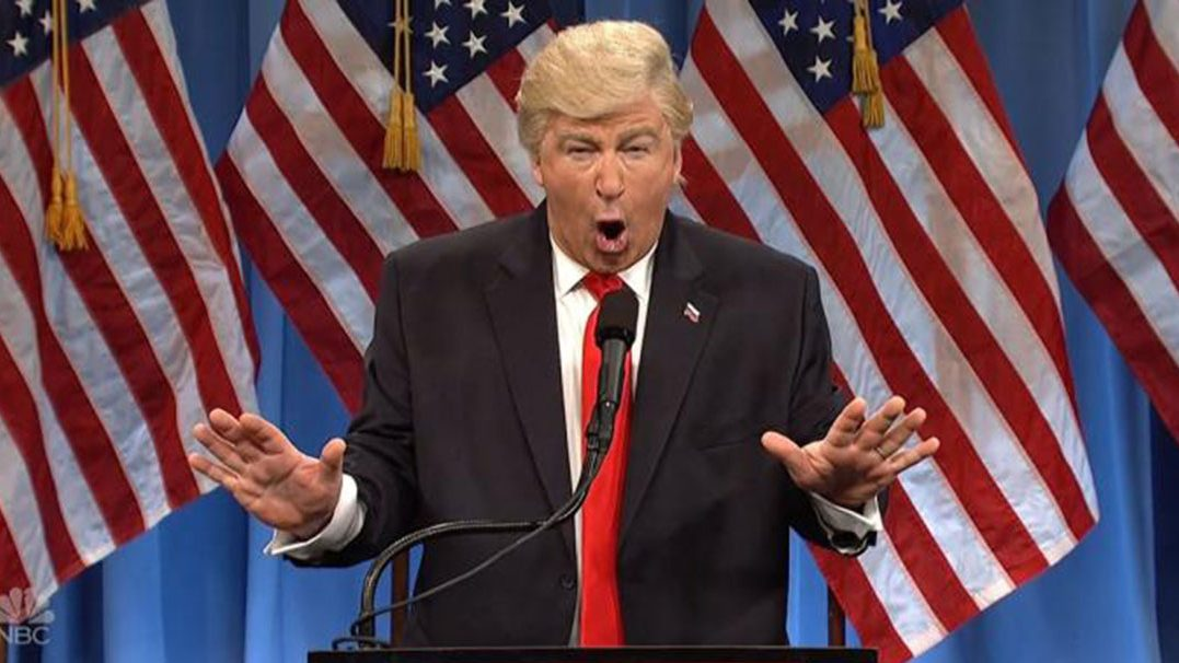 Alec Baldwin gestures as President Donald Trump on Saturday Night Live.