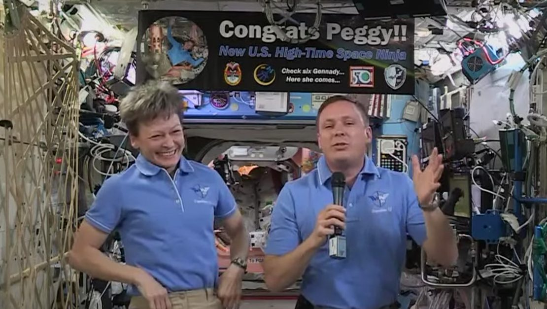 Astronaut Peggy Whitson aboard the International Space Station (White House/YouTube/LiveStream)