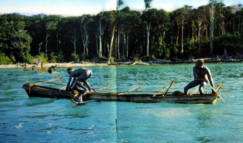 In this undated photo released by the Anthropological Survey of India, Sentinelese tribe men row their canoe in India's Andaman and Nicobar archipelago. Government officials and anthropologists believe that ancient knowledge of the movement of wind, sea and birds may have saved the five indigenous tribes on the Indian archipelago of Andaman and Nicobar islands from the tsunami that hit the Asian coastline Dec. 26, 2004. (AP Photo/Anthropological Survey of India, HO)