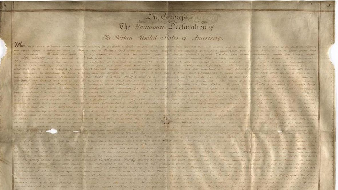 A second copy of the Declaration of Independence has been found in England, Harvard Researchers say. (Credit: WEST SUSSEX RECORD OFFICE ADD MSS 8981)