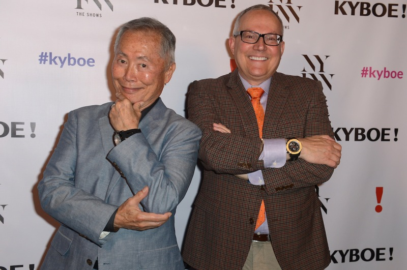 NEW YORK, NY - SEPTEMBER 10: George Takei and Brad Takei pose backstage at the KYBOE! fashion show during New York Fashion Week: The Shows at The Arc, Skylight at Moynihan Station on September 10, 2016 in New York City. (Photo by Gustavo Caballero/Getty Images for Kyboe!)