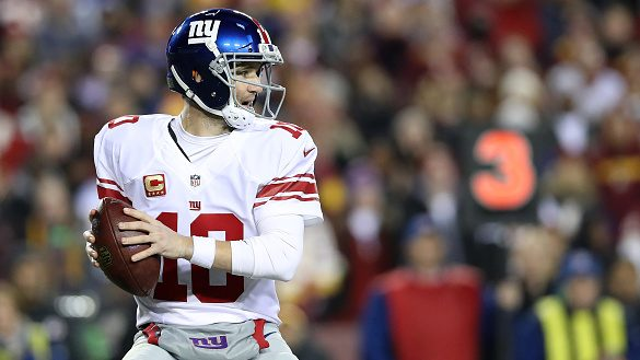 Quarterback Eli Manning #10 of the New York Giants passes the ball against the Washington Redskins in the fourth quarter at FedExField on January 1, 2017 in Landover, Maryland. (Photo by Rob Carr/Getty Images)